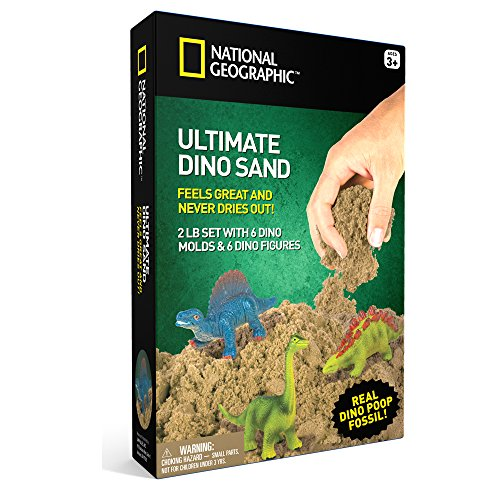 NATIONAL GEOGRAPHIC Ultimate Dinosaur Play Sand  2 Lbs of Sand 6 Molds 6 Figures amp Activity Tray Jurassic Planet