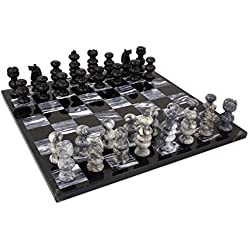 NOVICA Marble chess set, Check in Gray