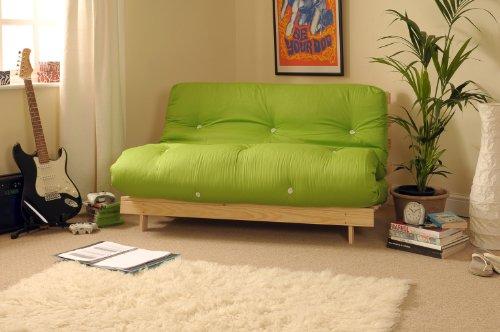 Comfy Living 4ft Small Double 120cm Wooden Futon Set LIME GREEN Mattress