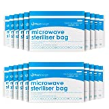 Premium Microwave Sterilizer Bags (10pcs) by Max Strength, Large & Durable Steam Bags for Baby Bottles, Soothers, Teethers & Training Cups, 20 Uses Per Bag & Marking System