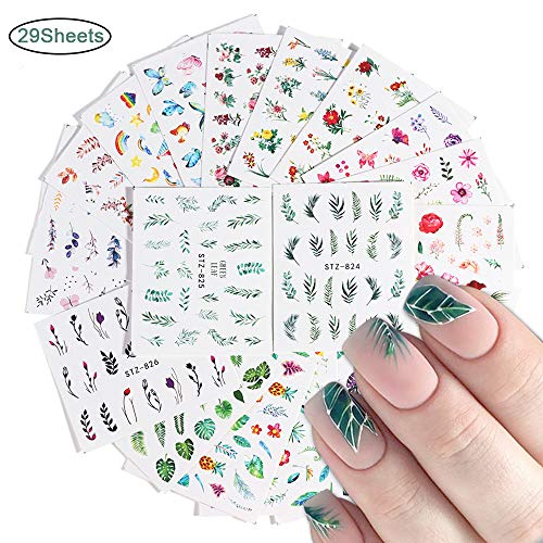 Macute Nail Stickers for Women Nail Art Accessories Decals 29 Sheets Fresh Nail Art Stickers Water Transfer Butterfly Leaf Flamingo Flower Nail Stickers for Fingernails Decor Manicure Decorations