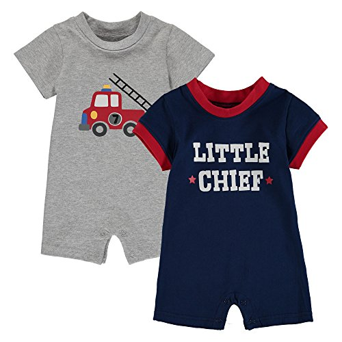Wan-A-Beez Baby Boys' 2 Pack Graphic Short-Sleeve Romper - Grey/Navy - Firetruck - 18 Months (Fire Truck Infant)