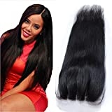 Youth Beauty Human Hair Silky Straight 3 Way Part Lace Closure(44) with Baby Hair Bleached Knots Swiss Lace Top Closure Natural Color 16