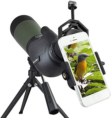 Gosky 20-60X 80 Porro Prism Spotting Scope - Waterproof Spotting scope for Outdoor Activities -45-Degree Comfortable Angled Eyepiece - with Tripod and Digiscoping Adapter - Get the World into Screen
