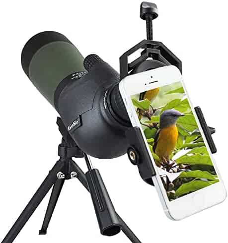 Gosky 20-60X 80 Porro Prism Spotting Scope- Waterproof Scope for Bird watching Target Shooting Archery Range Outdoor Activities -with Tripod & Digiscoping Adapter