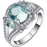 Women Blue Sapphire 18K White Gold Filled Party Wedding Jewelry Gorgeous Rings ERAWAN (7 #)
