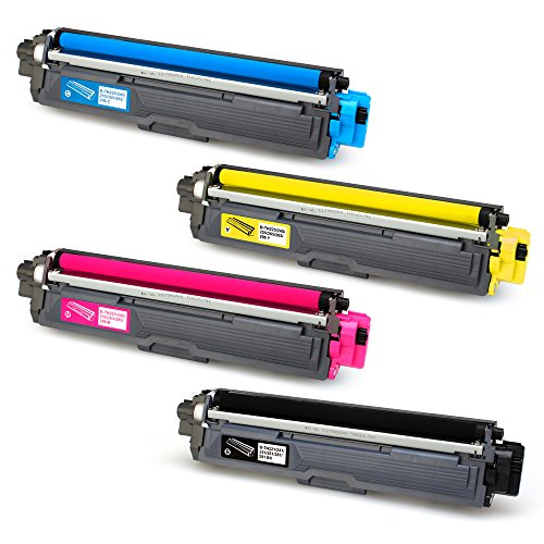 JARBO Compatible for Brother TN221 TN-221 TN225 TN-225 Toner Cartridge, 1 Set(1 Black, 1 Cyan, 1 Magenta, 1 Yellow), Use with Brother HL-3140CW HL-3170CDW HL-3180CDW MFC-9130CW MFC-9330CDW (Cyan Brother Ink)