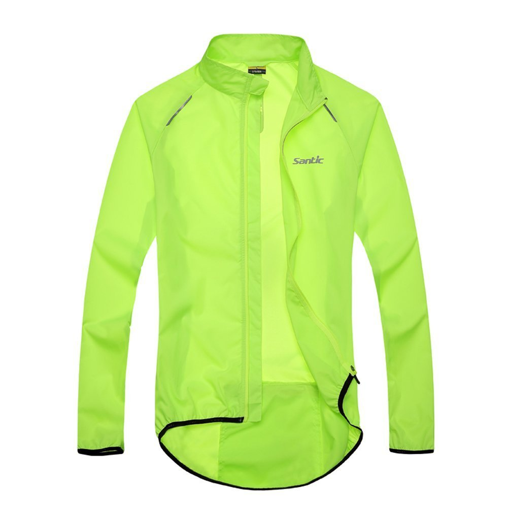 SANTIC Men's Cycling Skin Coat Jersey Bicycle Windproof Jacket Green