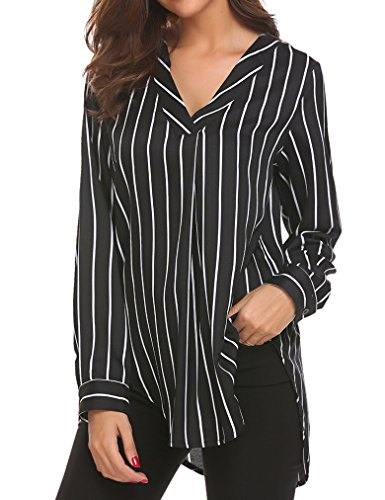 Sherosa Women Long Sleeve Striped Shirts V Neck Blouses Ladies Tops