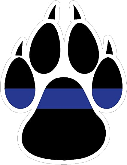 Thin Blue Line Paw Print 4x5 Inches Police Law Enforcement Dog Pride Protection Guns