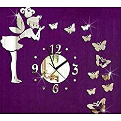 Kicode Modern Style Butterfly Fairy DIY Mirror Wall Clock Wall Sticker Home Decor For Home Living Room Bedroom