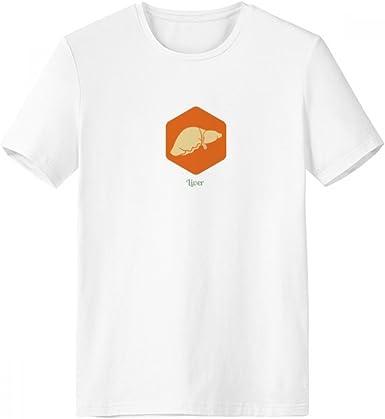 DIYthinker Los órganos del cuerpo hígado naranja con cuello redondo de la camiseta blanca de manga corta Comfort camisetas deportivas de regalos - Multi - Media: Amazon.es: Ropa y accesorios