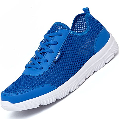 Elwow Men's Women's Couple Sports Shoes Breathable Mesh Quick Drying Aqua Water Shoes, Slip On Sneakers Blue