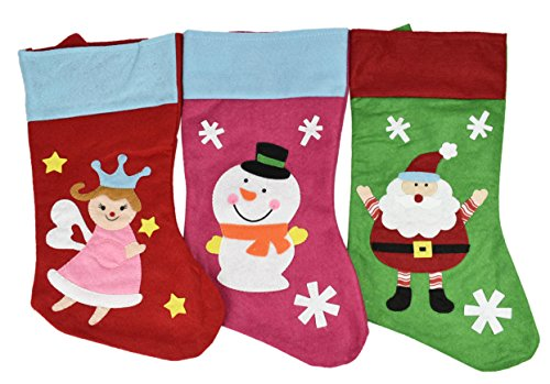 """Set Of 3 - Assorted 18"""" Christmas Figures And Icon Themed Embroidered Felt Stockings! Hanging Loops! Picture"""