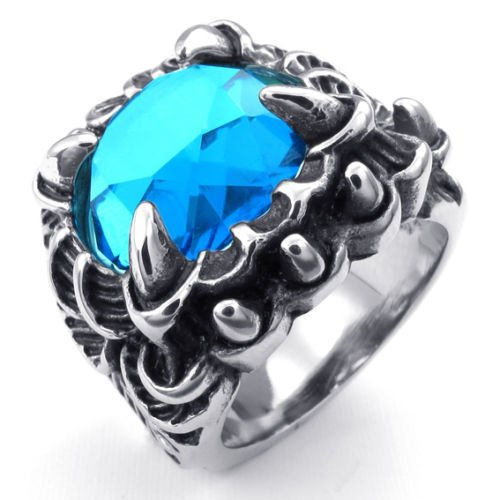 Aooaz Men's Ring Stainless Bear up Ring Silver Tone Blue CZ Monster Talon Vintage Retro Gothic Punk Rock