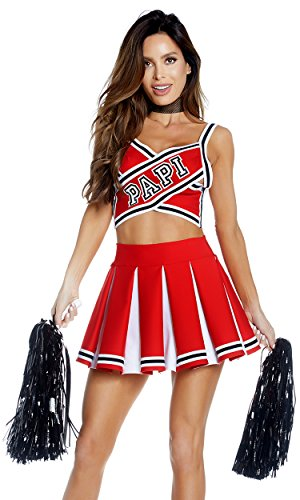 (Forplay Women's Papi's Prize Sexy Cheerleader Costume, red)