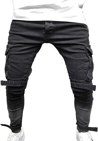 Hibasing Varios Bolsillos Hombre Skinny Jeans Estirables ...