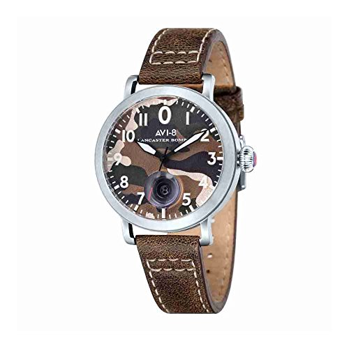 AVI-8 AV-4020-07 Mens Lancaster Bomber Dark Brown Leather Strap Watch