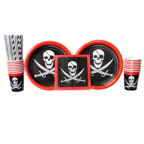 Cedar Crate Market Pirate Party Supplies Pack for 16 Guests: Straws, Dinner Plates, Luncheon Napkins, and Cups (Bundle for 16) -