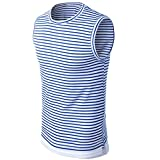 Blouse, Han Shi Fashion Men Summer Striped Tank Tops Shirt Striped Fitness Vest Cami (XL, Blue)