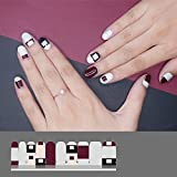 LIHI EXTRE ADHESION 20PCS Nail Art Transfer Decals Sticker Glitter Series DIY Nail Polish Strips ,Nail Wraps, Nail Patch,100% Real Nail polish applique for Manicure, Wedding, Party, Come Across