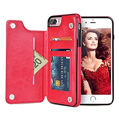 iPhone 7 Plus Case?Aemotoy Dual Layer iPhone 7 Plus Wallet Case Shockproof Cover PU Leathers Card Slot Anti-Scratch Protective Shell Soft TPU Bumper with Credit Card Holder for iPhone 7 Plus