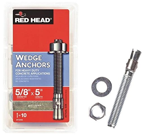 RED HEAD 11310 Redhead Wedge Anchor, 5/8 In X 5 In, 2-3/4 X 5-1/8 In Min Embed, ()