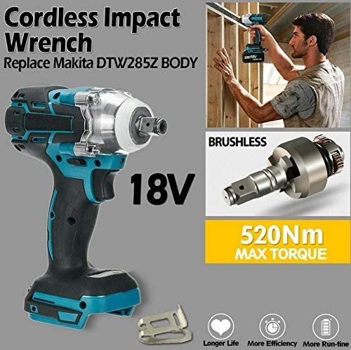 18v Elettrico Chiave Pneumatica 0-4000ipm 1//2 Pollice Brushless Cordless Torque Wrench 520nm Power Tool Impatto Frequenza