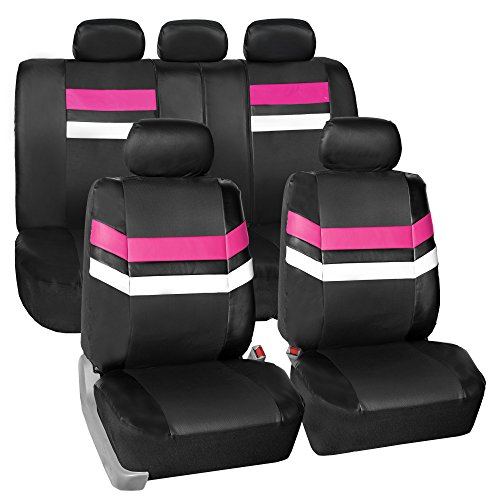 FH Group Leather Full Set Seat Covers Pink Airbag Safe PU006PINK115 & Split Bench Ready ()