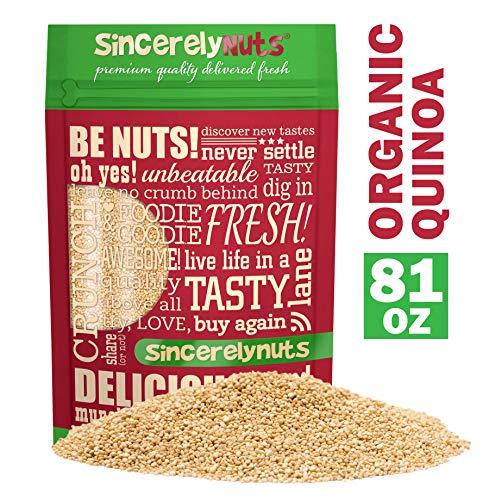 Sincerely Nuts Organic White Quinoa (5 lb Bag) - Prewashed Peruvian Quinoa   Pseudo Grain Packed with Amino Acids, Vitamins, Minerals, Protein & Fiber   Gluten Free Super Food   Kosher, Non GMO