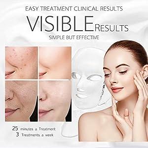 Led Face Mask - 7 Color Photon Blue Red Light Therapy Skin Rejuvenation Facial Skin Care Mask Therapy For Healthy Skin Rejuvenation | Home Light Therapy Facial Care Mask (Color: White)