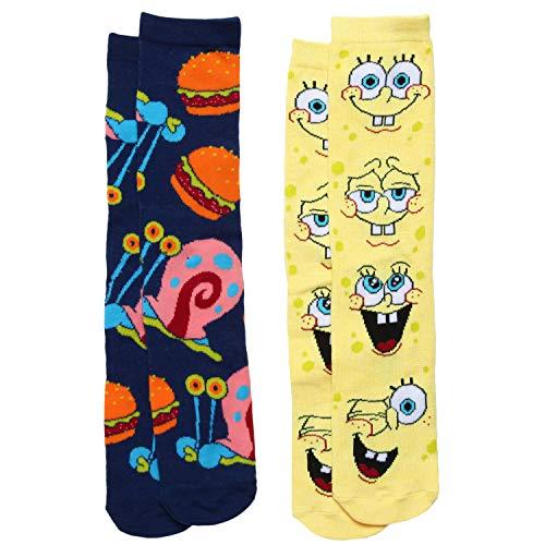 SpongeBob SquarePants & Gary 2-pack Adult Crew Socks