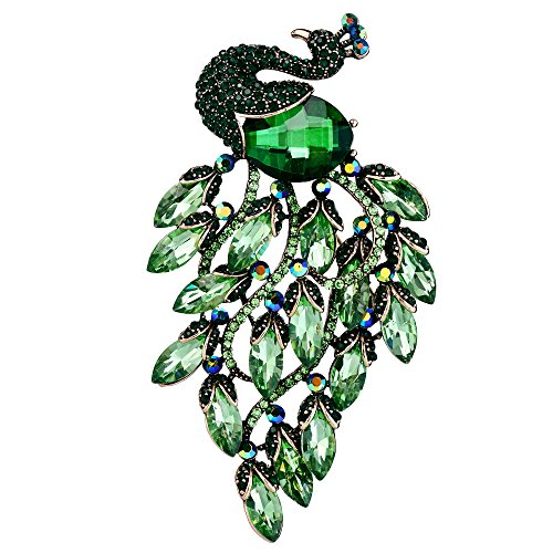 - EVER FAITH Women's Rhinestone Crystal Elegant Party Peacock Bird Brooch Green Antique Gold-Tone