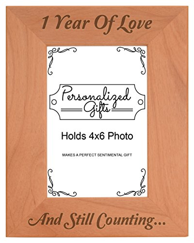 - 1st 1 Year Counting Natural Wood Engraved 4x6 Portrait Picture Frame Wood