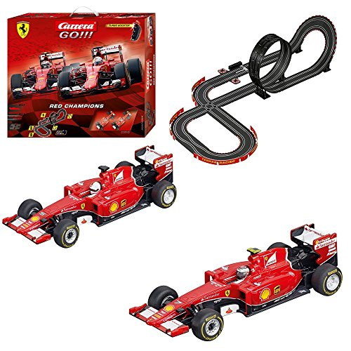 Carrera GO!!! Ferrari Red Champions Slot Car Race Track - 1:43 Scale Analog System - Includes 2 Formula 1 Cars with and 2 Controllers - Electric-Powered Set for Ages 8 - Race Carrera Cars
