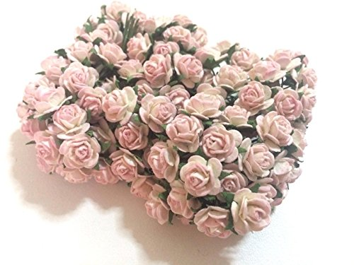 100 PCS Mini Light Pink Roses Mulberry Paper Flowers Wedding Card Scrapbook Dolls 1cm