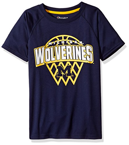 NCAA Michigan Wolverines Boys Short Sleeve Crew Neck Raglan Synthetic T-Shirt, Medium, Navy