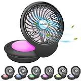 Allnice Mini USB Fan Desk Fan USB Powered Desktop Fan 360° Rotation 3 Speeds Table Fan Quiet Personal Fan with 7 Colors Night Light for Home Office Bedroom PC Travel (Black)