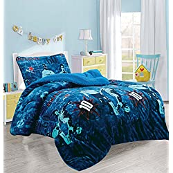 Luxury Home Collection 2pc Twin Size Blanket Sumptuously Soft Plush With Sherpa Backing Children/Teens Soccer Player Blue Warm Bedcover New (Player)