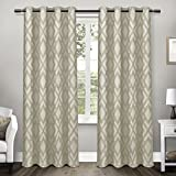 Exclusive Home Curtains Easton Jacquard Grommet Top Window Curtain Panel Pair with Blackout Liner, Taupe, 54x108
