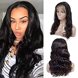 Amanda Hair 13×4 Lace Frontal Wigs Brazilian Body Wave Human Hair Lace Wig With Baby Hair Black Women 150% Density Pre Plucked Lace Wigs Natural Hairline