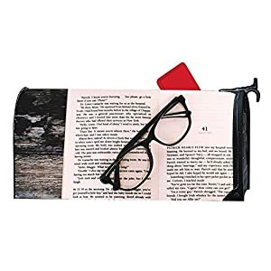 "Mailbox Cover - Decorative Magnetic Mailbox Book Eyeglasses Eyewear Design,Surrounds all 6.5"""" x 19"""" standard or traditional size mailboxes"