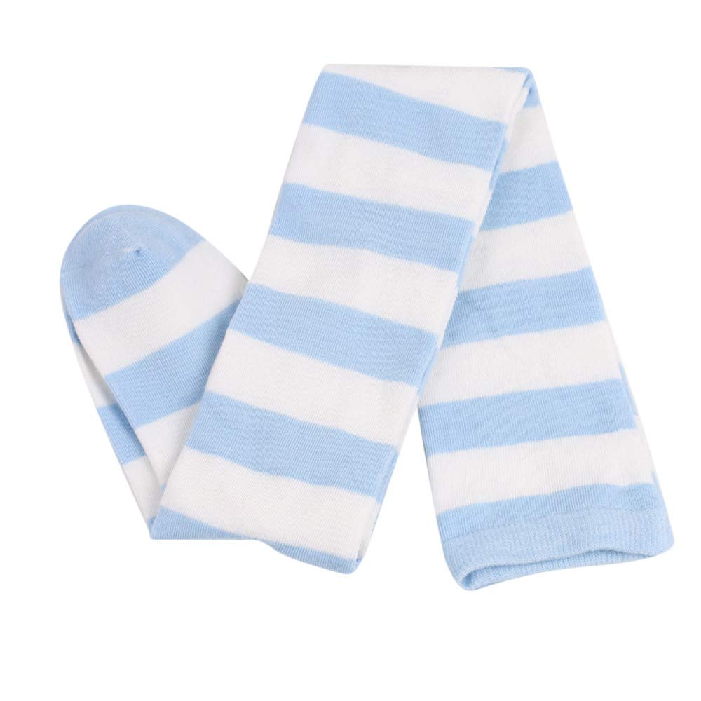 Women Thin Stripes Tube Thigh High Tights Over Knee Socks Casual High Stockings (Light Blue)