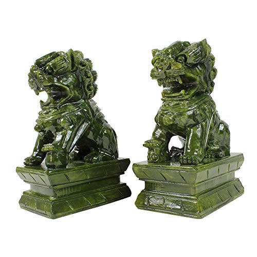 (A Pair of Green Stone Guardian Statues,Beijing Lions Pair Fu Foo Dogs,Chinese Feng Shui Decor for Home and Office Attract Wealth and Good Luck Best Gift,Four Sizes,ExtraLarge)