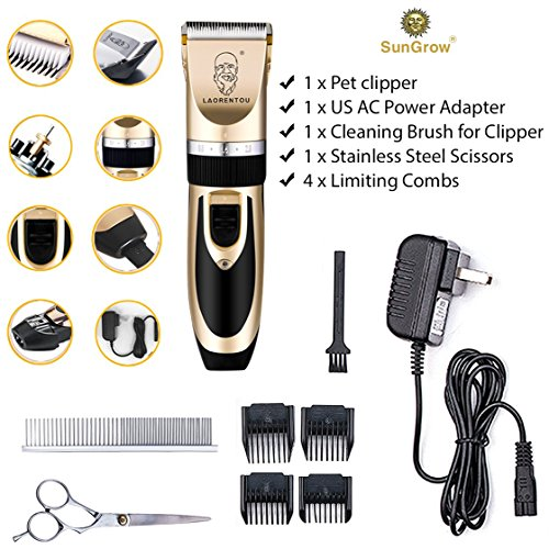 SunGrow All Inclusive Pet Grooming Kit - Quiet and Comfortable Fur Clipping Set from Contains 4 Comb Attachments, Cleaning Brush and Lubricating Oil - Trims fur on Dogs, Cats & other Family Pets by SunGrow (Image #4)