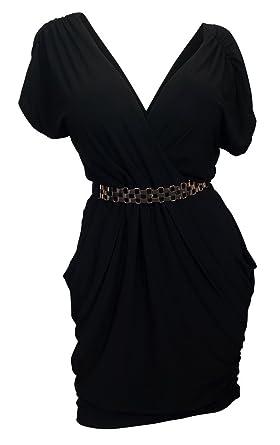 7a31284f0f62bd Amazon.com: eVogues Plus Size Deep V-Neck Wrap Bodice Dress: Clothing