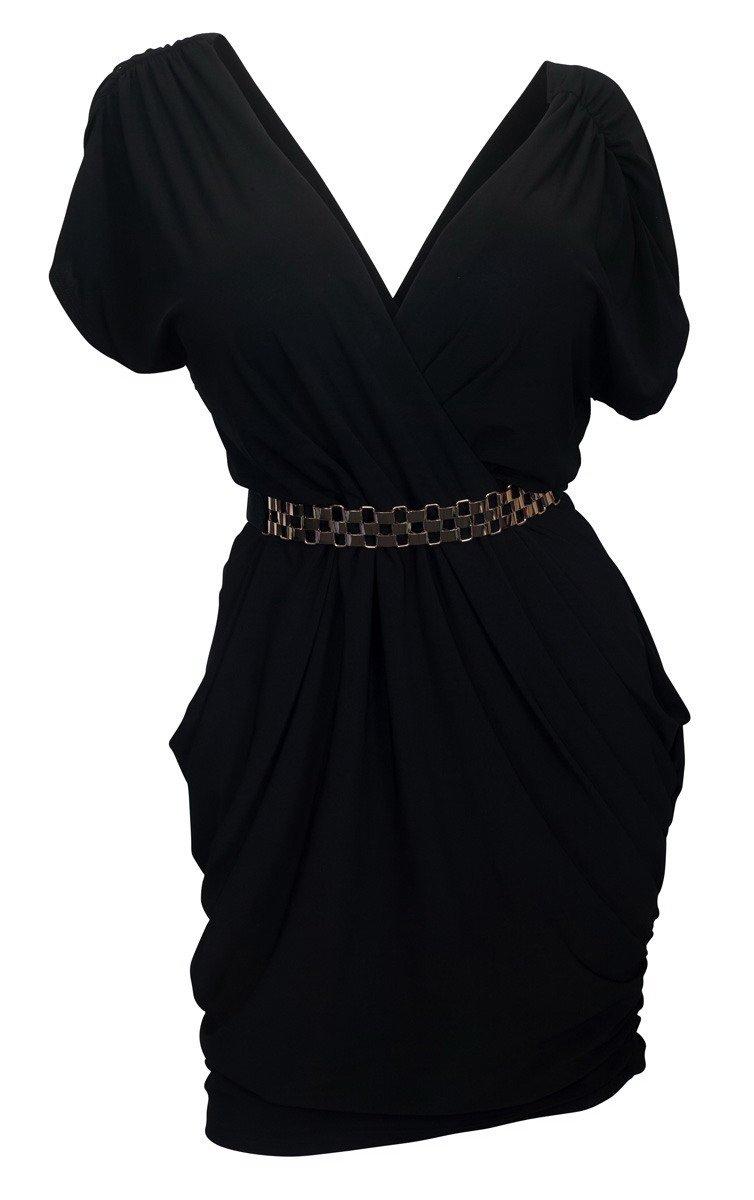 eVogues Plus Size Deep V-Neck Wrap Bodice Dress Black - 1X