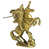 FENGSHUI Handmade Power Guan Yu A Hero With Sword Collectible Statues Furnitures Desktop Decoration Gift (qimaguangong-s)