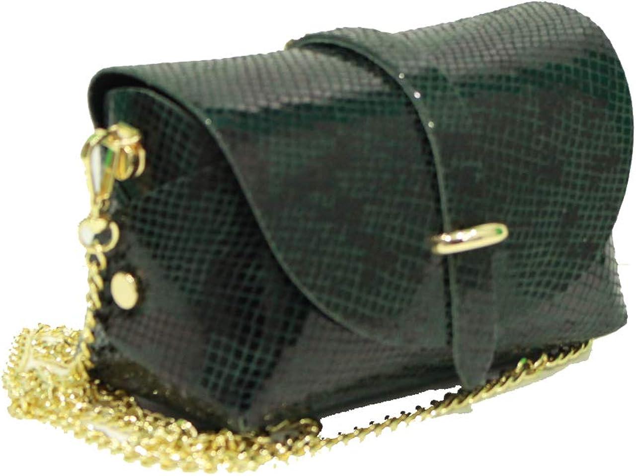 A to Z Leather Sac pochette en cuir véritable pour femme doté d'une bandoulière en chaîne d'or détachable. Personnalisable avec vos initiales. Façon Serpent Vert