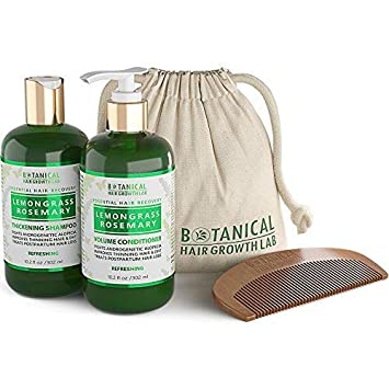 Botanical Hair Growth Lab Anti Hair Loss Shampoo and Conditioner Lemongrass Rosemary for Hair Thinning Prevention – Natural Organic – Alopecia Postpartum DHT Blocker
